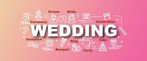 Bannière de mariage vecteur tendance