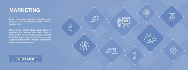 Bannière marketing 10 icônes conceptcall to action plan marketing stratégie marketing icônes simples