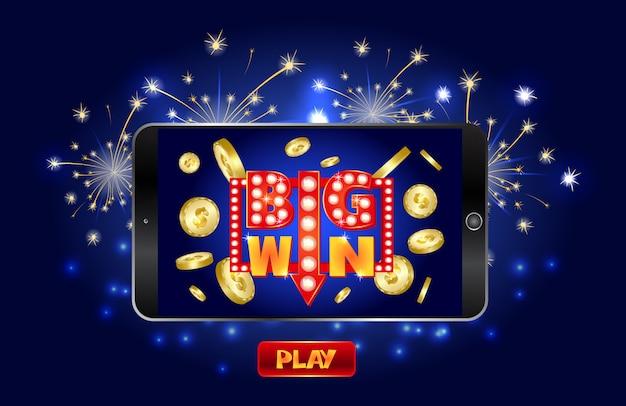Bannière marketing de casino en ligne, appuyez sur le bouton pour jouer.