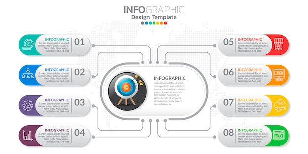 Bannière de marketing en ligne numérique avec des icônes pour les contenus de l'entreprise.