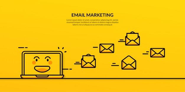 Bannière marketing par courriel concept de marketing numérique outline