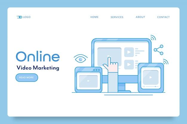 Bannière de marketing vidéo en ligne