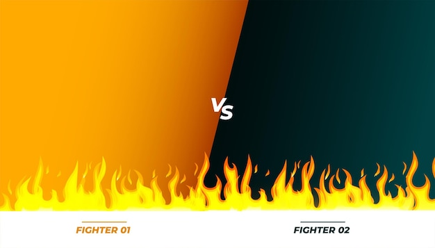 Bannière de match contre vs combat avec des flammes