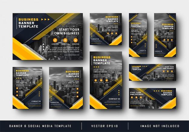 Bannière de médias sociaux bleu marine jaune pour l'entreprise temlplate