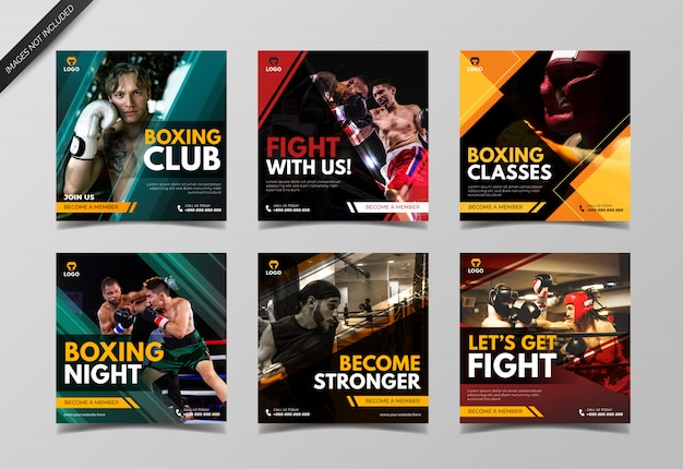 Bannière de médias sociaux de boxe pour la publication instagram et le marketing numérique