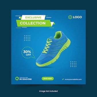Bannière de médias sociaux de chaussures de sport dynamiques et conception de modèle de publication instagram