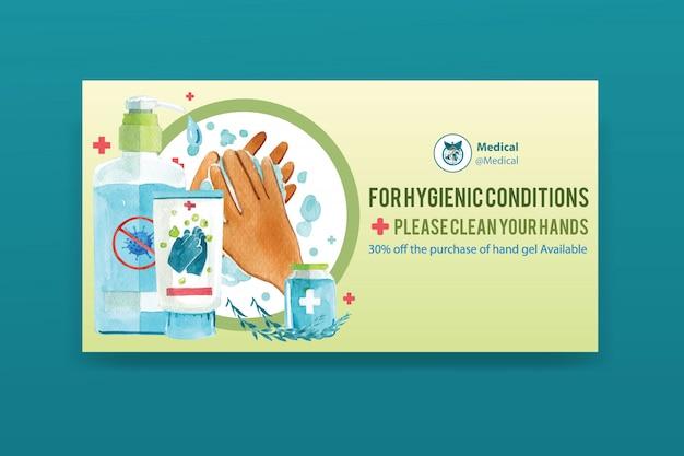 Bannière de médias sociaux décorée de gel lavant, illustration aquarelle de mains.