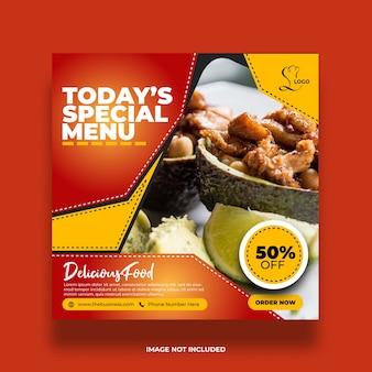 Bannière de médias sociaux délicieux menu spécial coloré de nourriture de restaurant