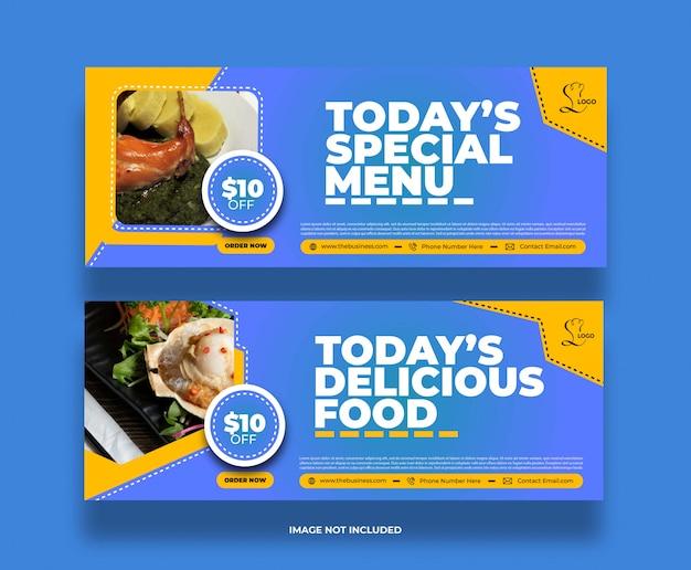 Bannière de médias sociaux délicieux menu spécial créatif restaurant nourriture