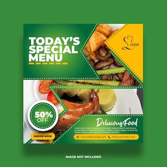 Bannière de médias sociaux délicieux menu spécial minimal coloré restaurant nourriture délicieuse