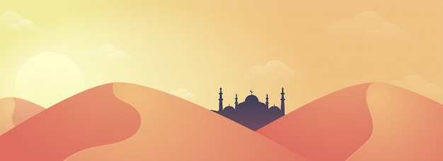 Bannière des médias sociaux avec des dunes de sable et des mosquées.