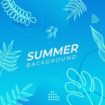 Bannière de médias sociaux d'été avec des fleurs et des feuilles d'été tropicales.