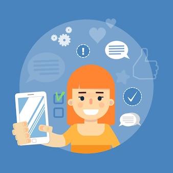 Bannière de médias sociaux. fille avec smartphone