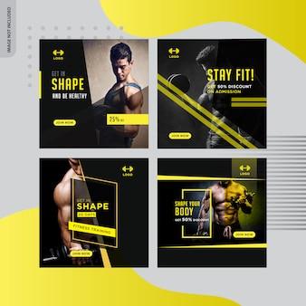 Bannière de médias sociaux de gym-fitness