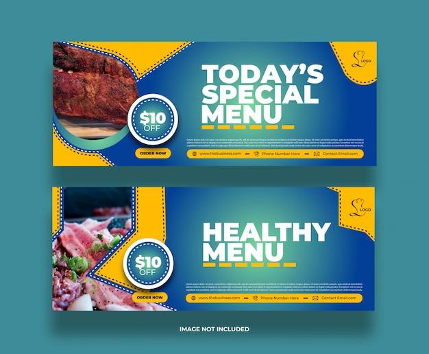 Bannière de médias sociaux de nourriture de menu spécial minimal créatif