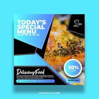Bannière de médias sociaux de nourriture de restaurant coloré de menu spécial