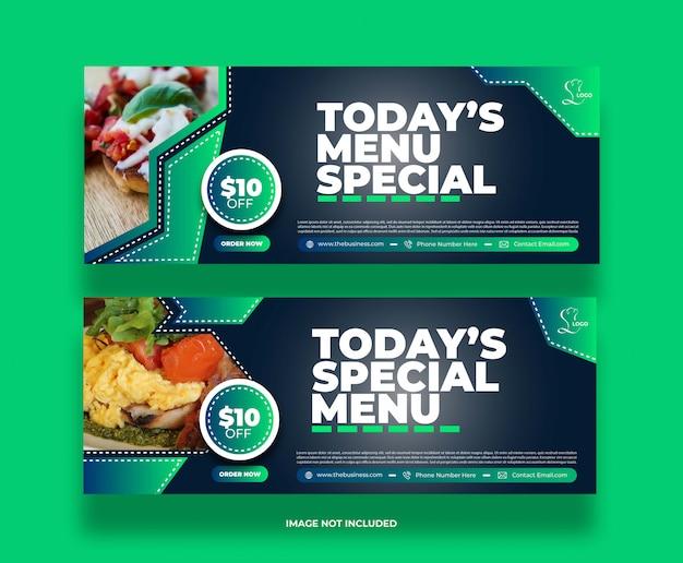 Bannière de médias sociaux de restaurant délicieux de nourriture colorée