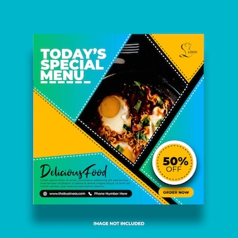 Bannière de médias sociaux de restaurant de menu spécial minimal coloré