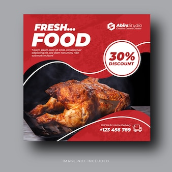 Bannière de médias sociaux de restaurant ou modèle de vecteur premium flyer carré