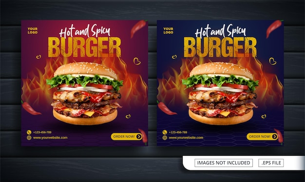 Bannière de médias sociaux rouge et bleu pour la vente de hamburgers