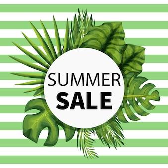 Bannière de médias sociaux des soldes d'été avec une plante de la jungle exotique.