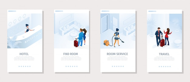 Bannière de médias sociaux de vecteur de voyage de services d'hôtel