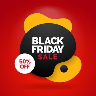 Bannière de médias sociaux vente vendredi noir avec fluide liquide abstrait moderne