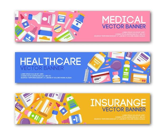 Bannière médicale définie dans un style moderne pour l'arrière-plan insurrange des soins de santé avec des capsules de pilules médicinales