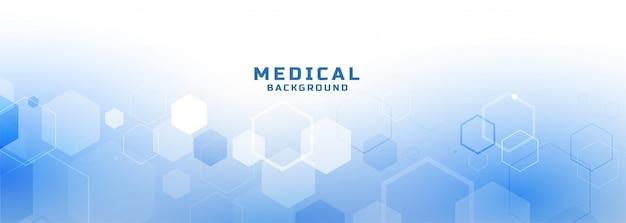 Bannière médicale et de soins de santé de style hexagonal