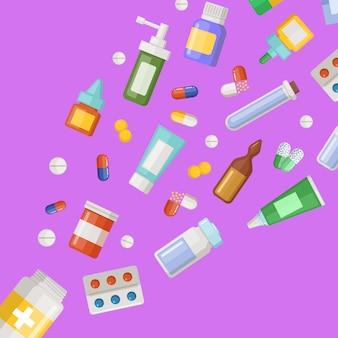 Bannière de médicaments volant en diagonale à partir d'une bouteille