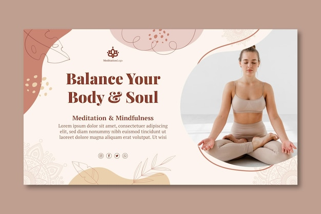 Bannière de méditation et de pleine conscience