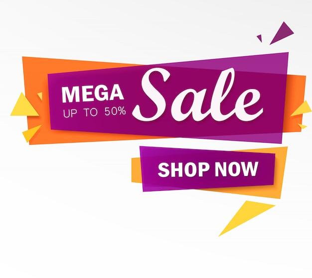 Bannière mega sale à offre limitée. grande vente, offre spéciale, réductions