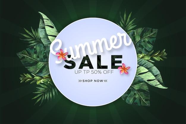 Bannière de méga vente d'été avec feuille aquarelle tropicale