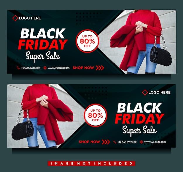 Bannière de méga vente vendredi noir, couverture facebook de médias sociaux avec modèle noir