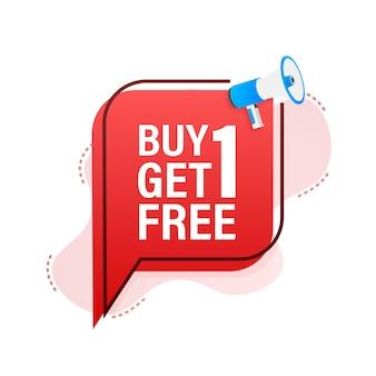Bannière mégaphone, concept d'entreprise avec texte buy 1 get 1 free. étiquette de vente. illustration vectorielle de stock.