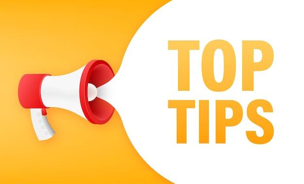 Bannière mégaphone avec texte conseils utiles. illustration vectorielle.