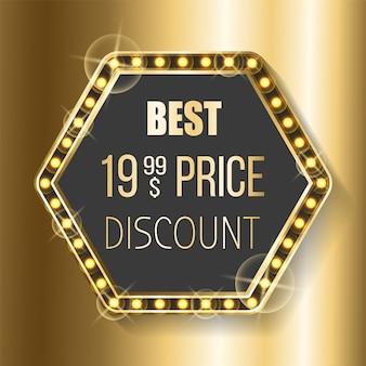 Bannière meilleur prix discount hexagon glittering frame