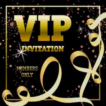 Bannière membres d'invitation vip uniquement avec ruban tourbillon