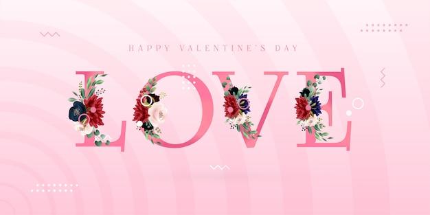 Bannière de memphis happy valentine's day