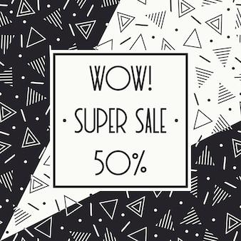 Bannière memphis super vente. rabais jusqu'à 50 pour cent. achetez maintenant. à moitié prix.