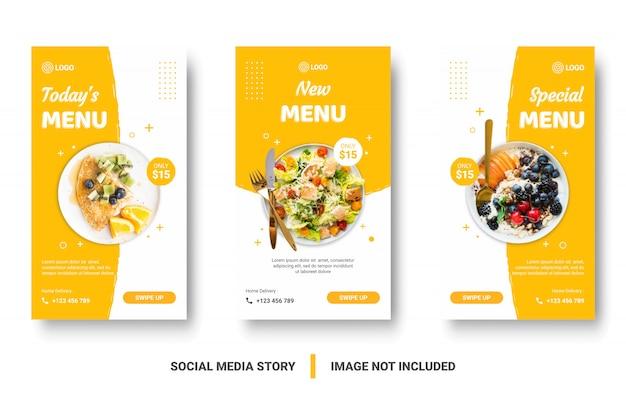 Bannière de menu alimentaire histoire des médias sociaux.