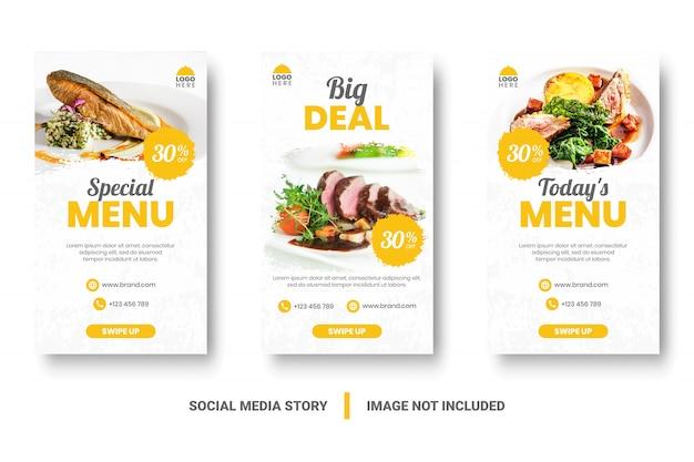 Bannière de menu alimentaire histoire de médias sociaux.
