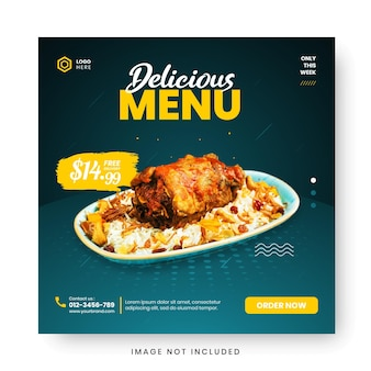 Bannière de menu alimentaire sur les médias sociaux. modèles de médias sociaux modifiables pour les promotions dans le menu nourriture. ensemble d'histoire de médias sociaux et de cadres de publication. conception de mise en page pour le marketing sur les médias sociaux.