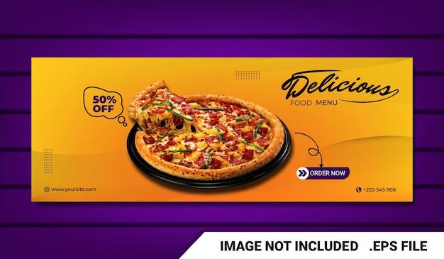 Bannière menu alimentaire et modèle de couverture facebook du restaurant