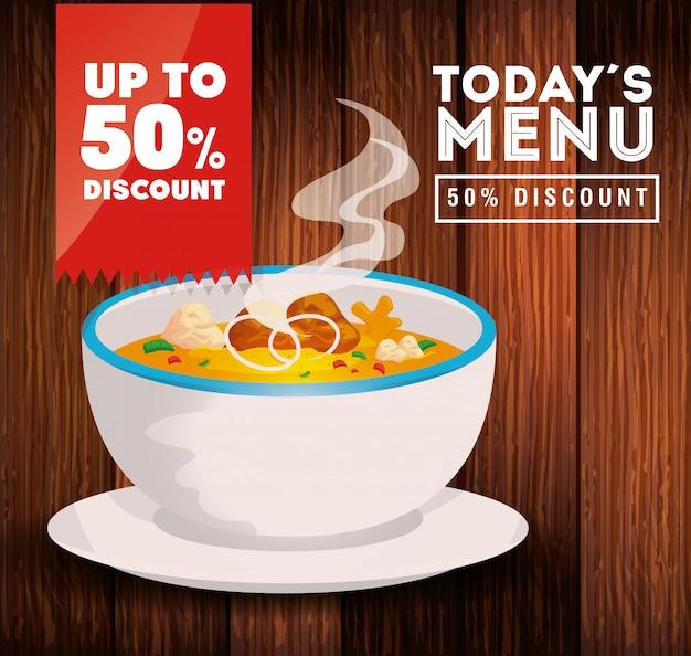 Bannière de menu d'aujourd'hui avec soupe et cinquante rabais