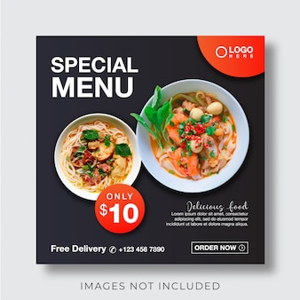 Bannière de menu culinaire alimentaire pour modèle de publication de médias sociaux