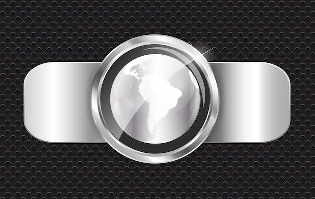 Bannière métallique abstraite avec globe terrestre