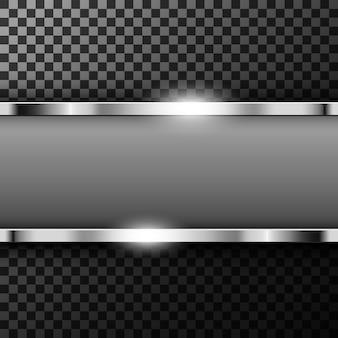 Bannière métallique chromée avec espace texte