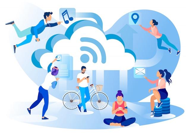 Bannière de métaphore de style de vie de réseau de médias sociaux
