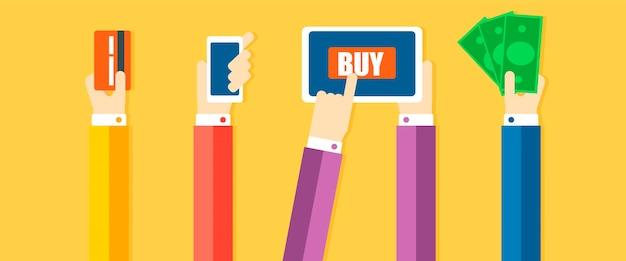 Bannière de méthodes de paiement. les mains paient les marchandises, avec de l'argent, un téléphone, une carte
